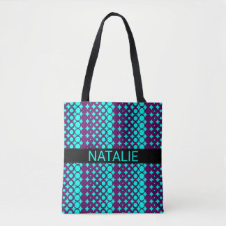 Purple Circle Style Pattern on Bright Aqua Blue Tote Bag