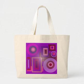 purple circles and squares large tote bag