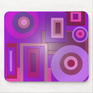 purple circles and squares mouse mat