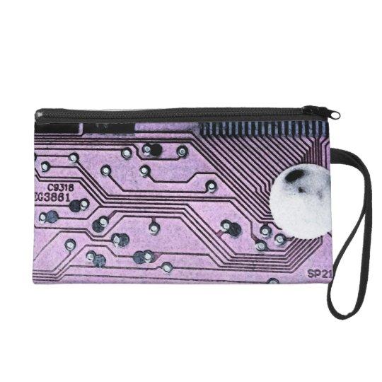Purple Circuit Board Moonscape Wristlet, Geek Chic Wristlet