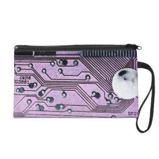 Purple Circuit Board Moonscape Wristlet, Geek Chic Wristlet Clutch