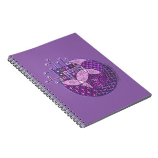 """Purple Circuit"" Tangle Spiral Notebooks"