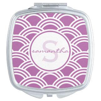 Purple Clamshell Monogram Vanity Mirror
