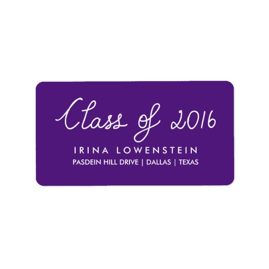 Purple Class Of 2016 Typography Graduation Label