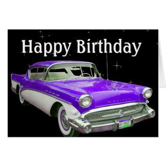 Purple Classic Muscle Car Birthday Bash Greeting Card