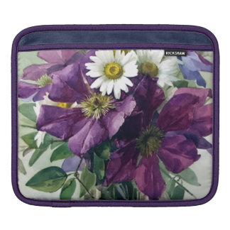 Purple Clematis and White Daisies Fine Art Sleeves For iPads