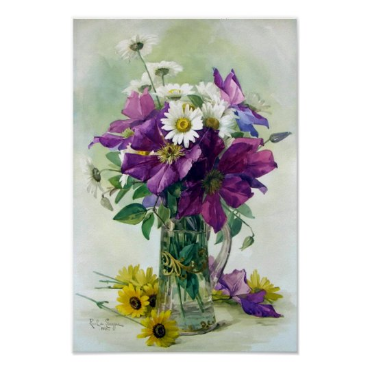 Purple Clematis and White Daisies Print