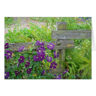 Purple clematis flowers on wooden fence greeting card
