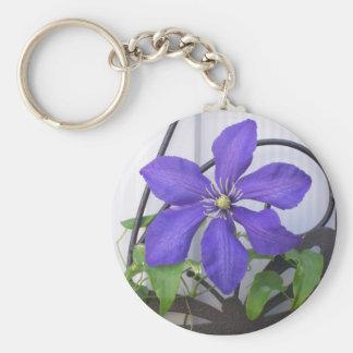 Purple Clematis Keychain