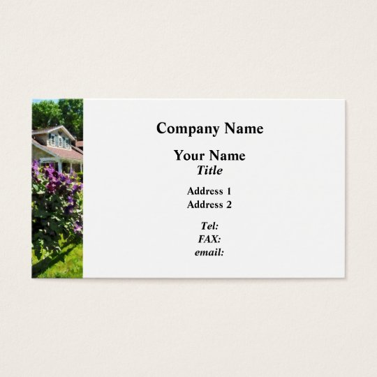 Purple Clematis on Rustic Fence Business Card