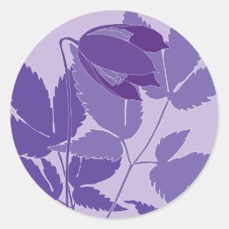 purple clematis round sticker
