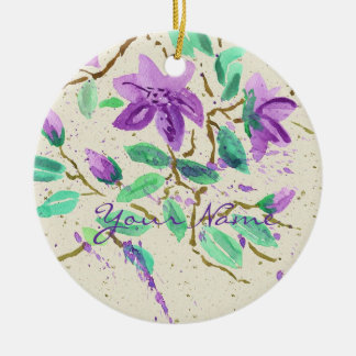 Purple Clematis Watercolor Painting Washi Paper Round Ceramic Decoration