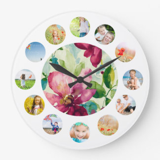 Purple Clematis Watercolor Photo Collage Large Clock