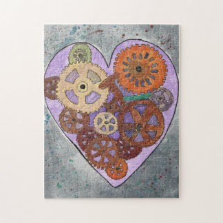 Purple Clockwork Heart 11x14 Puzzle, Gift Box Jigsaw Puzzle