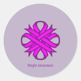 Purple Clover Ribbon Round Sticker