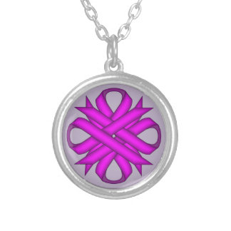 Purple Clover Ribbon Silver Plated Necklace