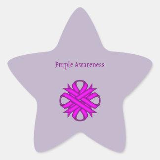 Purple Clover Ribbon Star Sticker
