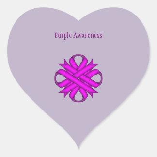 Purple Clover Ribbon Heart Sticker