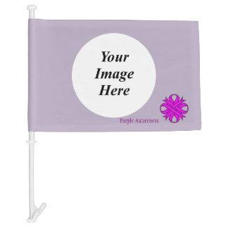 Purple Clover Ribbon Template Car Flag