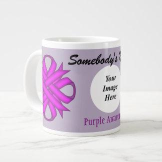 Purple Clover Ribbon Template Jumbo Mug