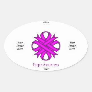 Purple Clover Ribbon Template Oval Sticker