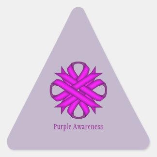Purple Clover Ribbon Triangle Sticker