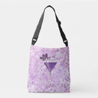Purple Cocktail Lavender Bokeh Bling Crossbody Bag