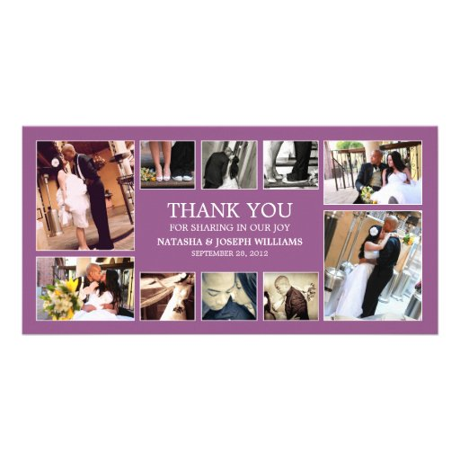 PURPLE COLLAGE | WEDDING THANK YOU CARD CUSTOM PHOTO CARD