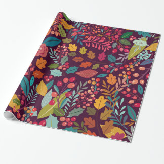 Purple Color Forest Autumn Leaves Pattern Wrapping Paper