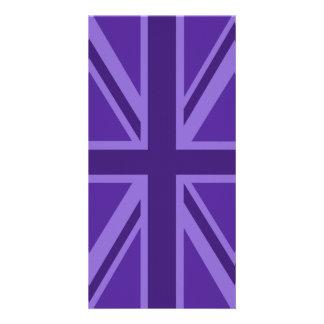 Purple Color Union Jack British Flag Design Custom Photo Card