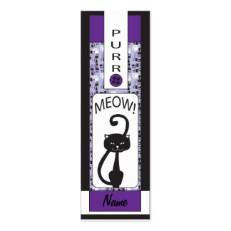 Purple Colored Design with a Black Cat Pack Of Skinny Business Cards
