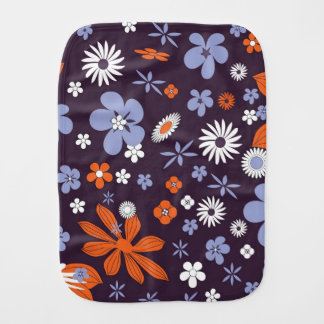 Purple colorful flower flowers baby burp cloth