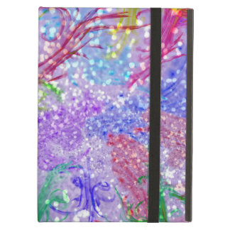 Purple Colorful Watercolor Abstract Glitter Photo iPad Air Cover