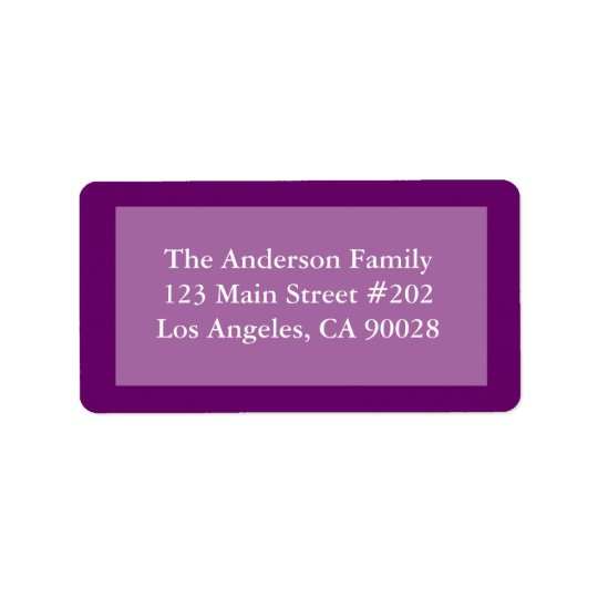 purple colour border address label