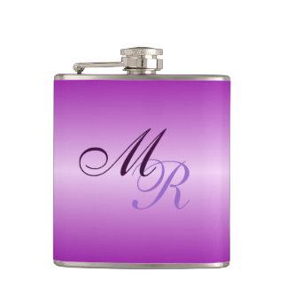 Purple Coloured Monogrammed Hip Flask
