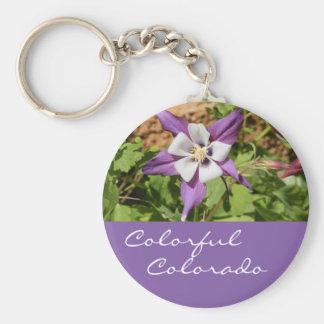 Purple Columbine Basic Round Button Key Ring