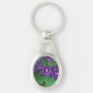 Purple Columbines - Oval Keychain Silver-Colored Oval Key Ring
