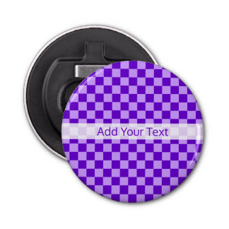 Purple Combination Checkerboard by Shirley Taylor Bottle Opener