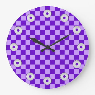 Purple Combination Checkerboard by Shirley Taylor Large Clock