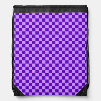 Purple Combination Diamond-Checkerboard Drawstring Backpack
