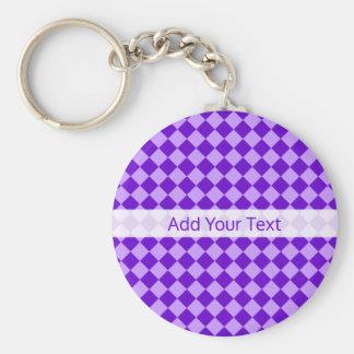 Purple Combination Diamond Pattern by STaylor Basic Round Button Key Ring