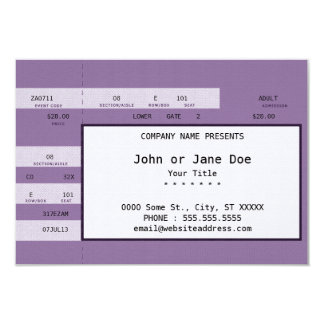purple concert ticket card