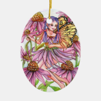 Purple Cone Flower Fairy Ceramic Oval Decoration