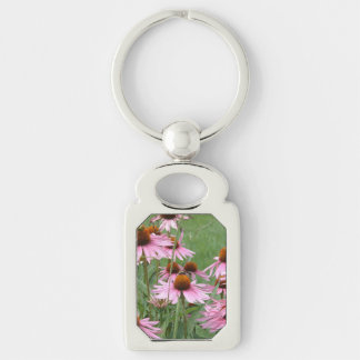 Purple Coneflower Garden with Bees Silver-Colored Rectangle Key Ring