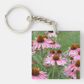 Purple Coneflower Garden with Bees Single-Sided Square Acrylic Key Ring