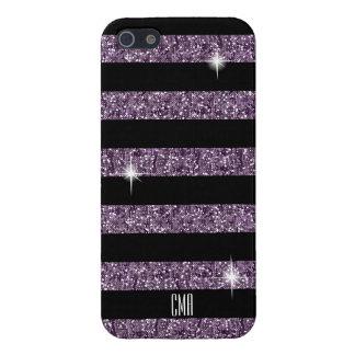 Purple Confetti Glitter & Black Stripes | Monogram iPhone 5 Case