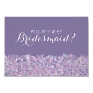 Purple Confetti Will You Be My Bridesmaid 13 Cm X 18 Cm Invitation Card