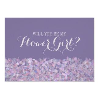 Purple Confetti Will You Be My Flower Girl 13 Cm X 18 Cm Invitation Card