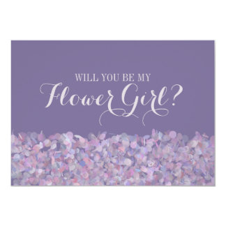 Purple Confetti Will You Be My Flower Girl Card