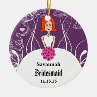 Purple & Coral Wedding Red Hair  Bridesmaid Christmas Ornament